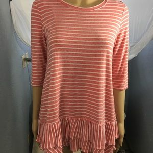 Vision Top Striped Coral and White Size S